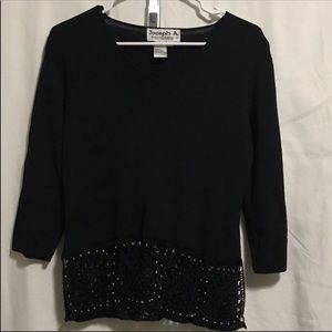 Joseph A. black sweater with jewels on the bottom